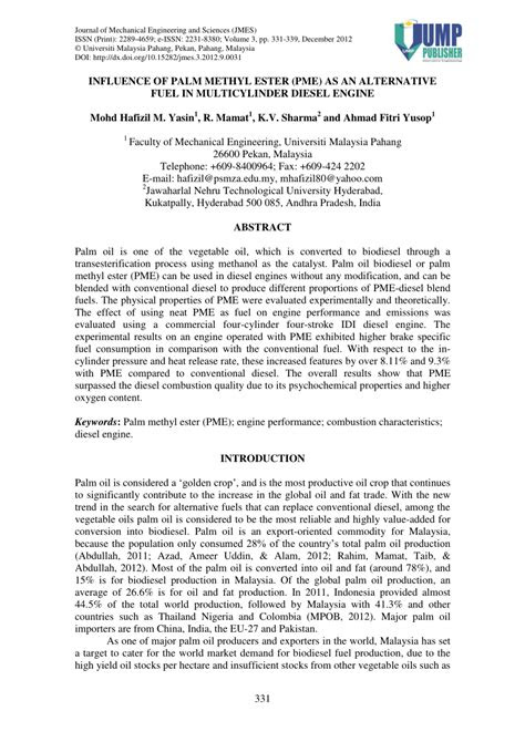 (PDF) Influence of Palm Methyl Ester (PME) as an