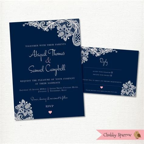 Navy Blue Wedding Invitation, RSVP Card Set Kit, Lace