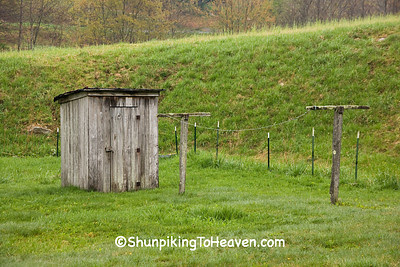 Weathered Gray Outhouse and Old Clothes Line, Watauga County, North Carolina