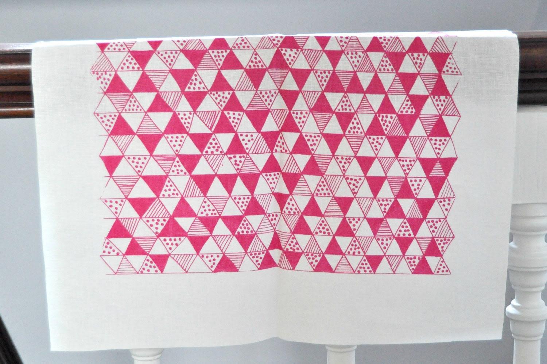 Pink Triangle Mania screen printed fabric