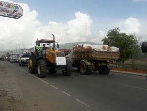 Productores agrícolas obstaculizan tránsito en Constanza en protesta