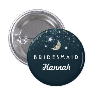 Teal Moon & Stars Bridesmaid 1 Inch Round Button by juliea2010 at Zazzle