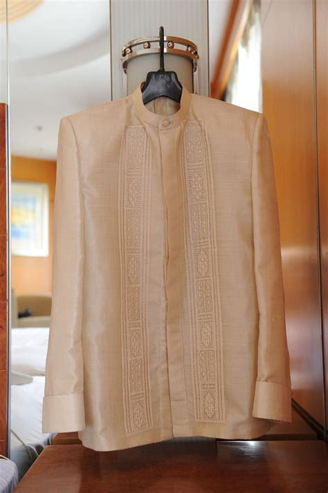 Coat Barong for the groom. Pure Pina (pineapple) cloth