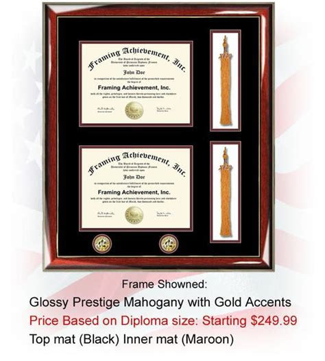 Double college diploma frame two dual certificate