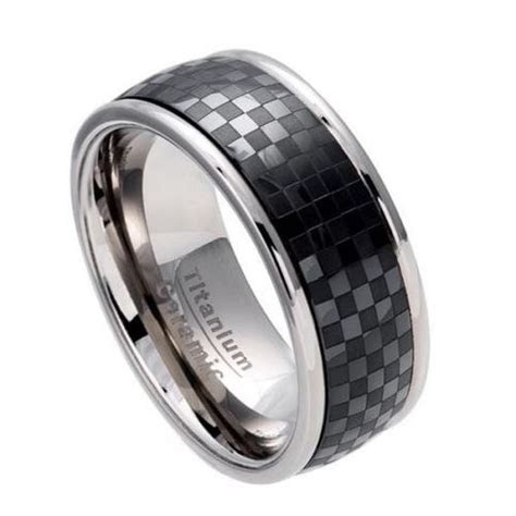 Men's 8.5mm Titanium Wedding Band Ring Black Ceramic Inlay