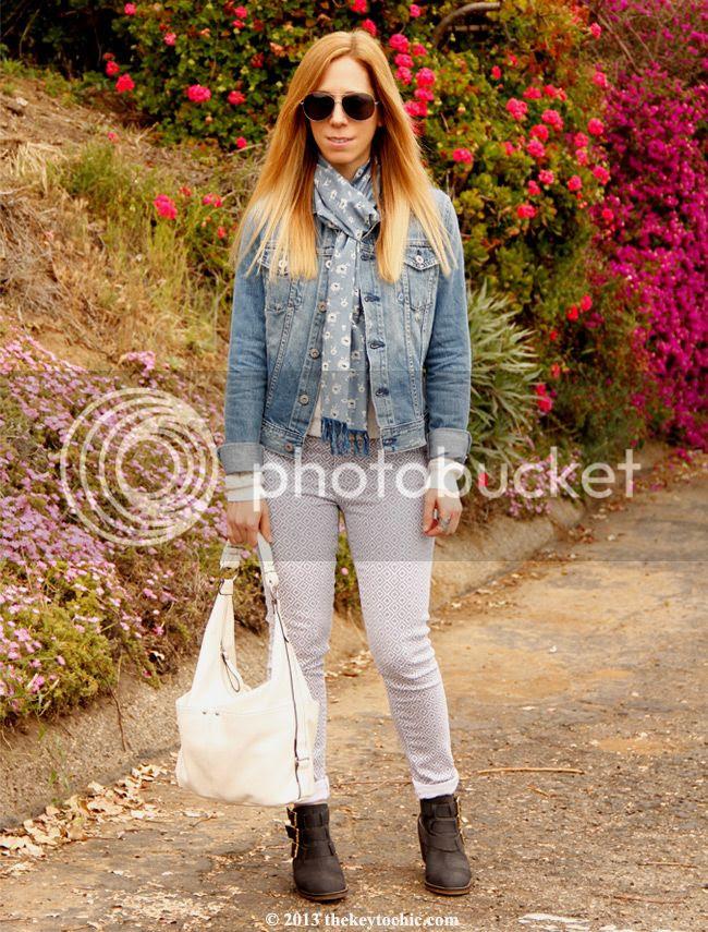 AJ jeans Robyn denim jacket, AG Jeans Liberty of London floral scarf, AG Jeans the legging ankle basket weave skinny jeans, Steve Madden Opall boots, Merona hobo bag, Los Angeles fashion blogger