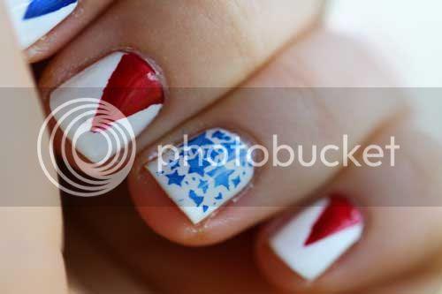 photo of close up 4th July nail look