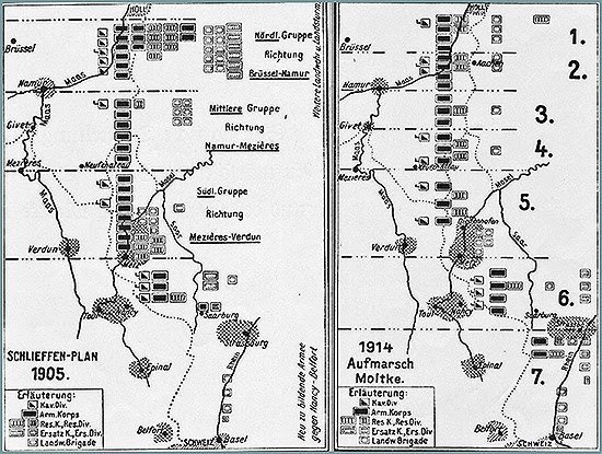 Map of the original Schlieffen Plan 1905 (left) and Moltke's version 1914 (right)