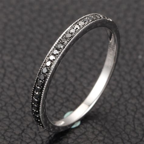 Milgrain Half Eternity Band Pave H/SI Black Diamonds 14K