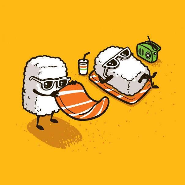 食べ物の日常生活をテーマにしたユーモラスなイラストシリーズ Kconf