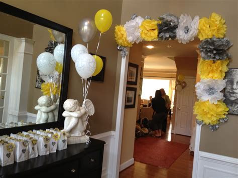 Grey, White, and Yellow Bridal Shower Decorations. Make