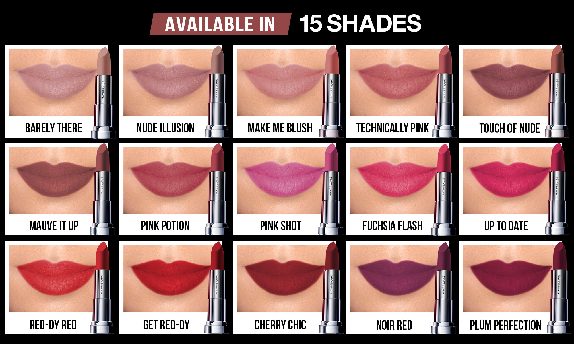 Maybelline Powder Matte Lipstick Swatches