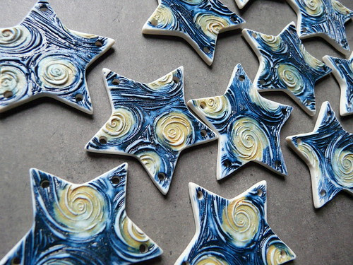 Starry Night Porcelain Jewelry Components