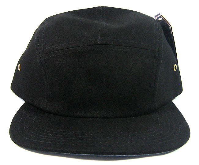 Blank 5 Panel Camp Hats/Caps Wholesale - Solid Black