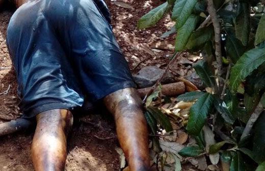 Segundo a PM, o corpo estava em estado de decomposição e com perfuração na cabeça