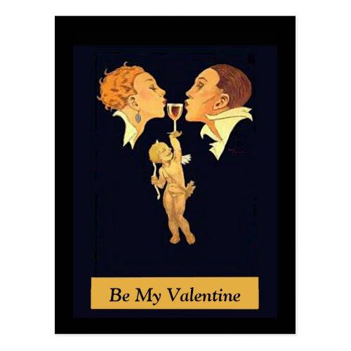 1920s Valentine Kiss Postcard