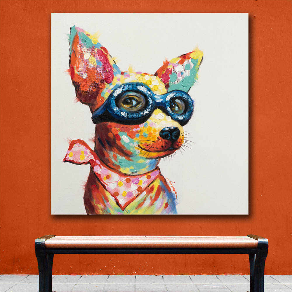 Oil Painting Picture Dog Pop Art Wall Decor Painted Wall Art Canvas Printed Living Room Painting Wall Art Pictures No Frame