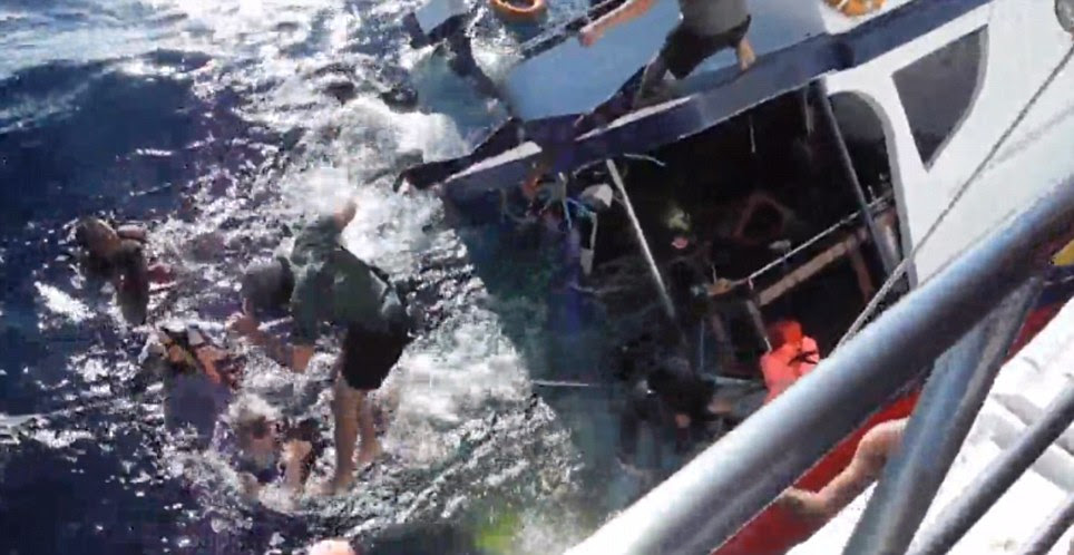 Screams of terror: The 13 passengers on board panicked and jumped for their lives as the boat began to sink