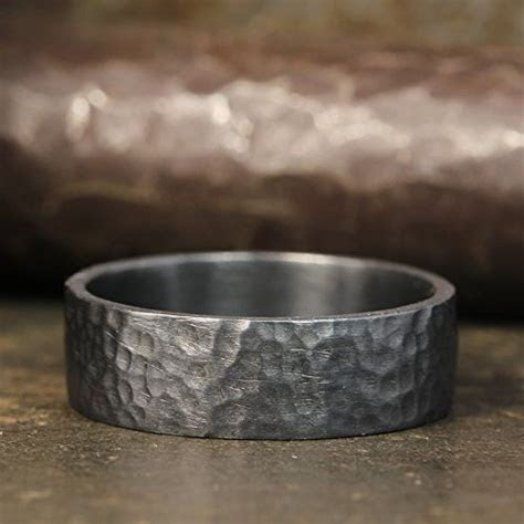 7mm Wedding Band Oxidized Blackened 925 Sterling Silver