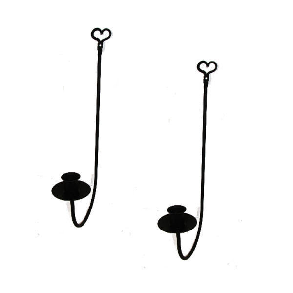 Black Wrought Iron Single Arm Wall Candle Sconces PAIR ...