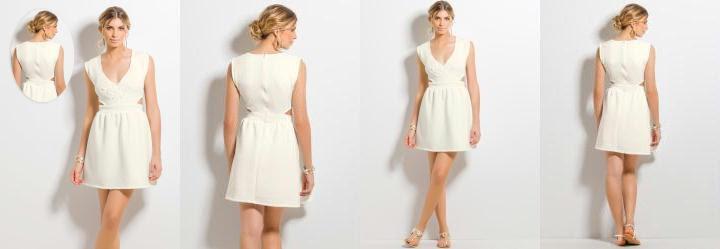 Vestido Evasê com Vazado Lateral Off-White