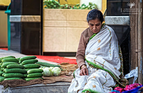 Cucumber Cabbage Seller on Street by Nitesh-Bhatia (Streets / Portraits)