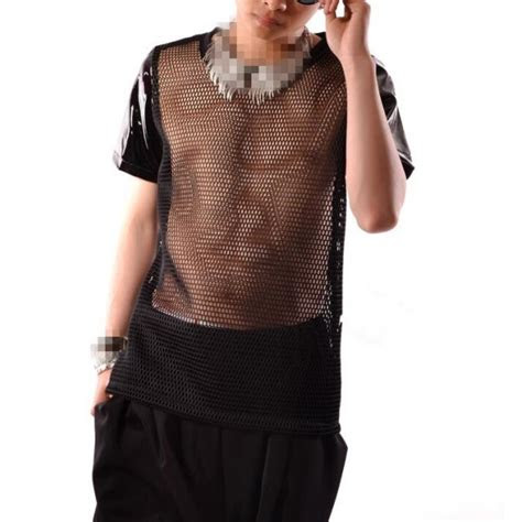 black leather mesh   patchwork short sleeves