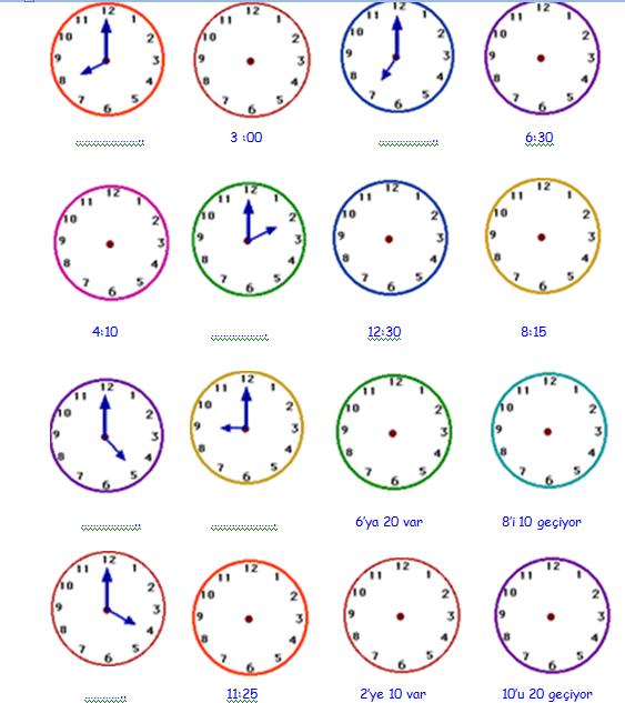 2sınıf Matematik Dersi Saatleri öğrenme Etkinlik Sayfası Guzelbilcom