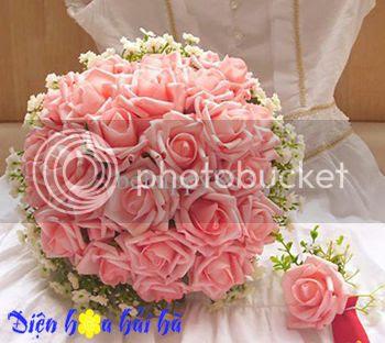 Bó hoa cưới đẹp dùng Hoa hồng phấn