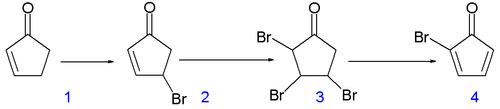 Scheme 1. Synthesis of cubane precursor bromocyclopentadienone