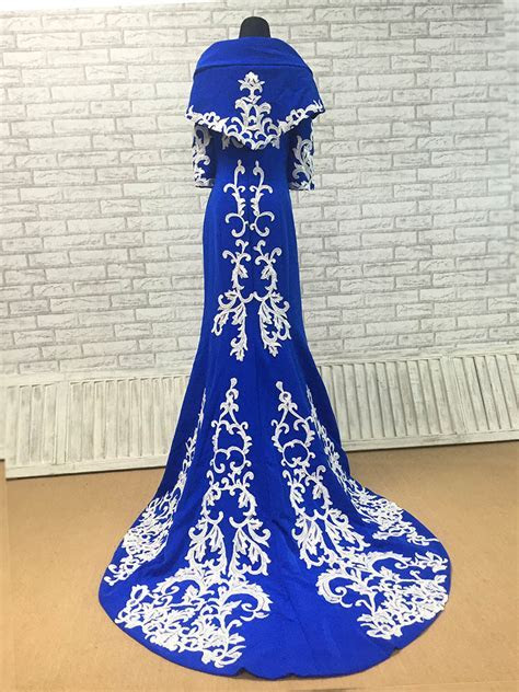 White Appliques Embroidered Royal Blue Matte Satin Mermaid