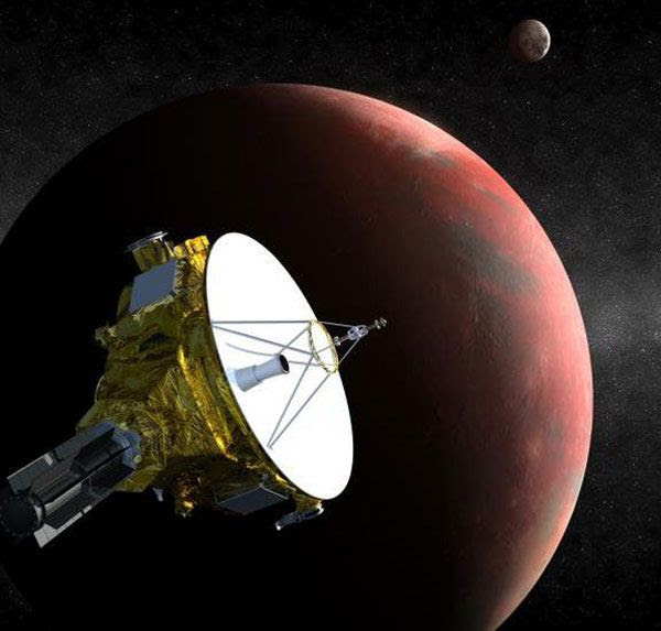 An artist's concept of NASA's New Horizons spacecraft approaching Pluto.