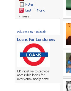 Loans ad in Facebook