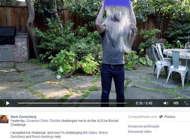 Mark Zuckerberg leva banho de água gelada em campanha contra doença (Foto: Reprodução)