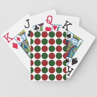 Red and Green Polka Dots on White Bicycle Card Decks
