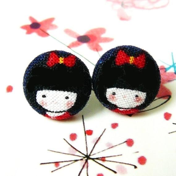 tiny Kokeshi girl stud earrings 12mm