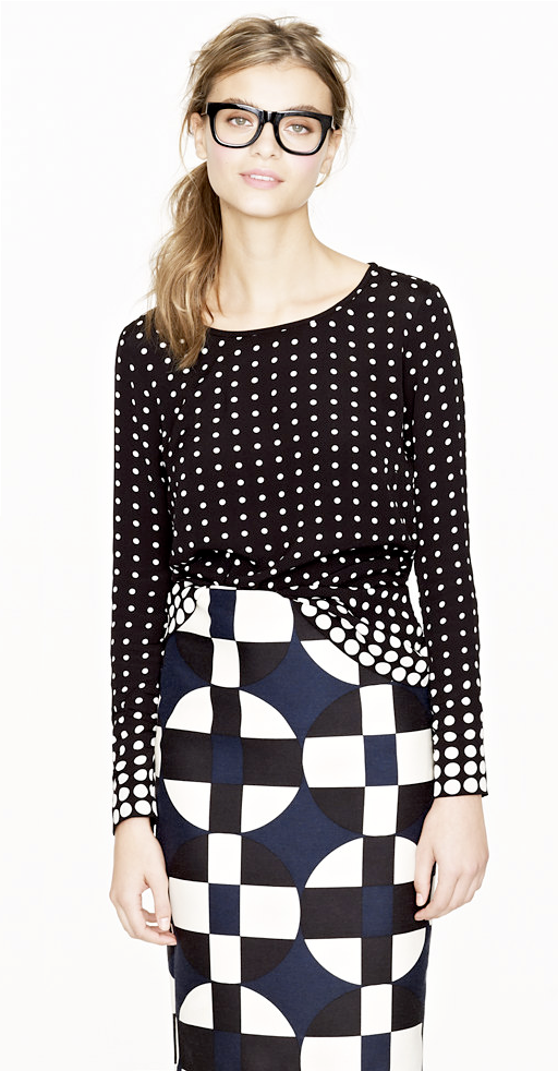 LE FASHION J CREW SALE GRAPHIC PRINT SWEATER DOTS PRINT PENCIL SKIRT THICK BLACK FRAME EYEGLASSES 3