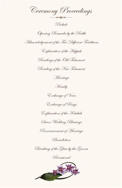 Orchid Wedding Program Examples Wedding Program Wording