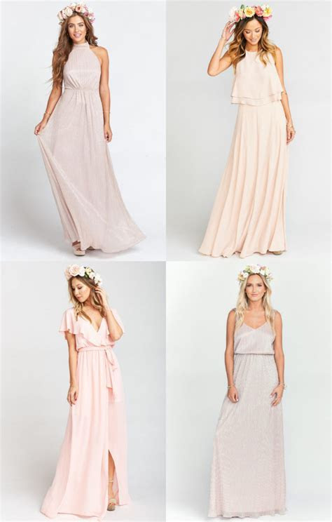 Blush and Gold Mix and Match Bridesmaid Dresses   Dress