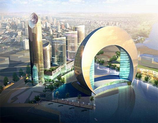 Azerbajan, Death Star, Heerim Architects, Baku, Hotel Full Moon, Full Moon Bay, Hotel Crescent, green development, green city, middle eastern green development, lunar architecture, Heerim Architects
