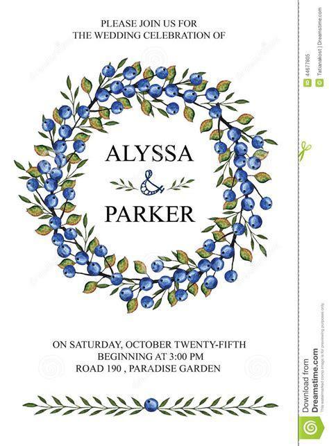 Wedding Invitation.Watercolor Wreath.Blue Berries