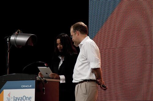 "Nandini Ramani and Adam Messinger, JavaOne 2011 San Francisco ""Java Strategey Keynote"""