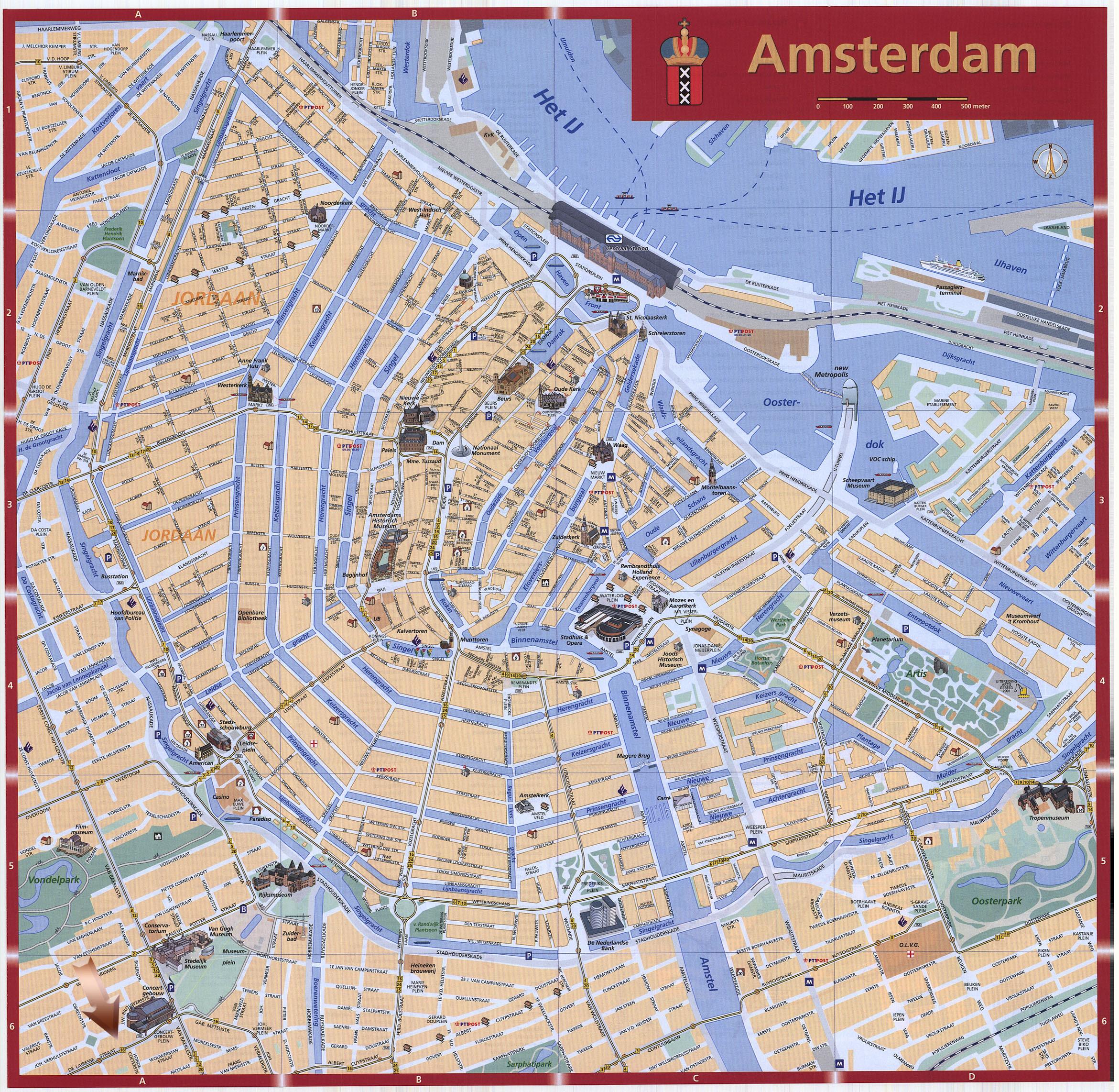 Cartina Amsterdam.Mapa Mapa Amsterdam