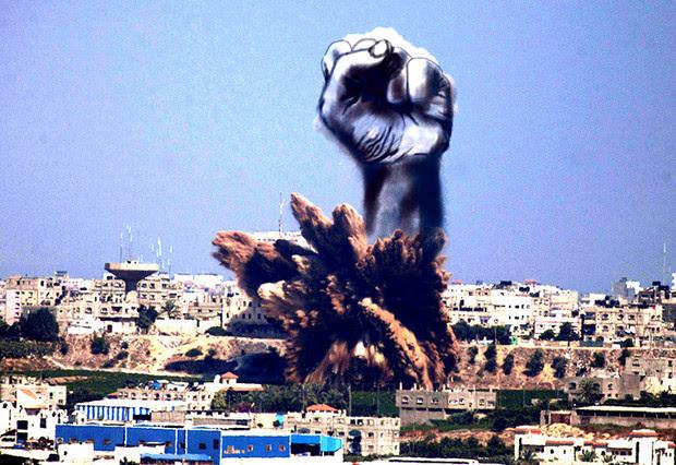 Artistes palestins converteixen el fum en art