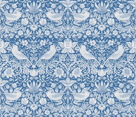 William Morris ~ Strawberry Thief ~ Blue  White wallpaper  peacoquettedesigns  Spoonflower