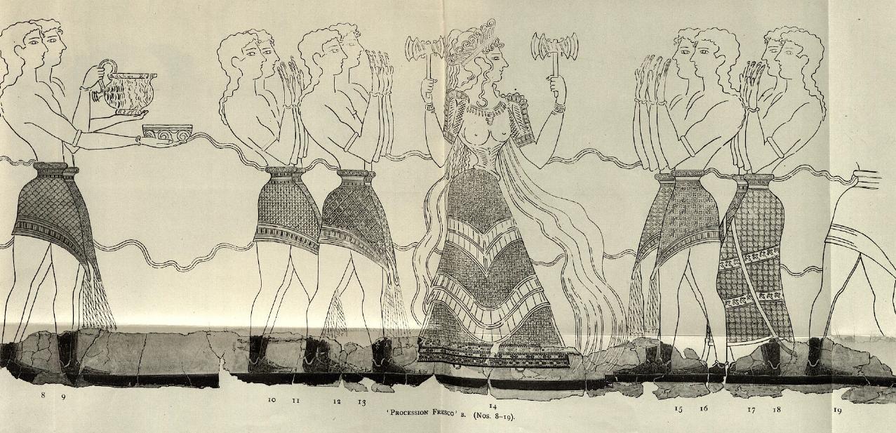 Crete Goddess Queen Persephone Procession Fresco