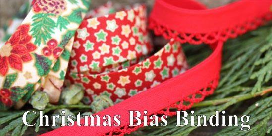 Christmas bias binding