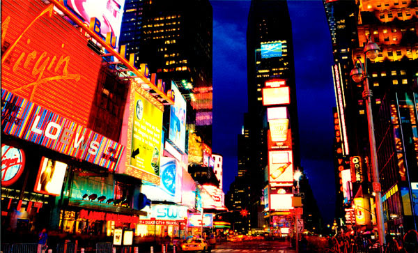 new york city time square at night. Above: New York City.