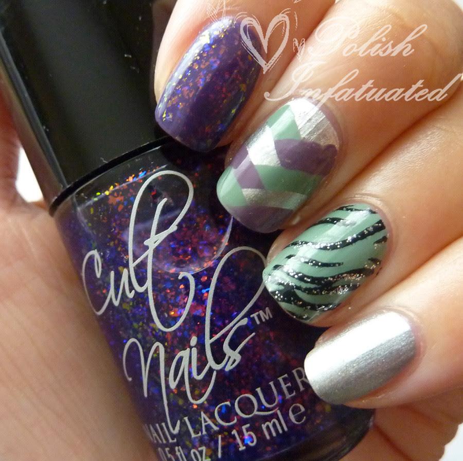 purple&green nail art mash1
