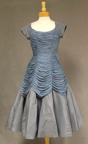 Slate gathered jersey and taffeta 1950's cocktail dress.  http://www.vintageous.com/